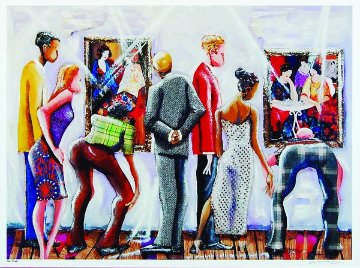 Spectators At the Tarkay Exhibit 2002 Limited Edition Print - Marcus Glenn