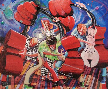 Three Bass And a Lady 2001 Embellished Limited Edition Print - Marcus Glenn