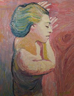 Angel Profile 1998 28x22 Original Painting - David  Glynn
