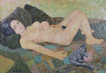 Alex And Cat 1997 22x32 Original Painting by David  Glynn