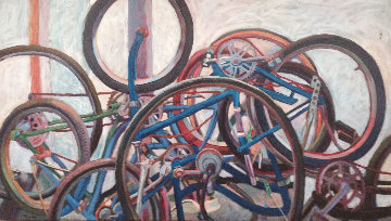 Study in Bikes 1976 36x60 Original Painting - David  Glynn
