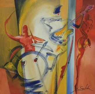 Jam Session Three 31x31 Original Painting - Alfred Gockel