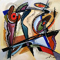Jazz Fusion 39x39 Original Painting - Alfred Gockel