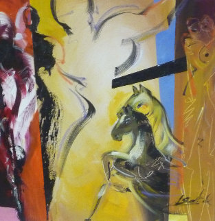 Equestrian Night 2012 32x32 Original Painting - Alfred Gockel