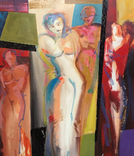 Forever At Her Side 2010 39x27 Original Painting - Alfred Gockel