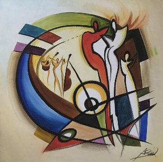 Dance III 2004 60x60 Huge Original Painting - Alfred Gockel