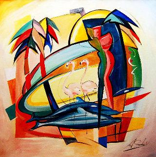 Love in the Tropic 2016 43x43 Original Painting - Alfred Gockel