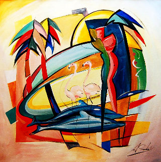 Love in the Tropic 2016 43x43 Super Huge Original Painting - Alfred Gockel