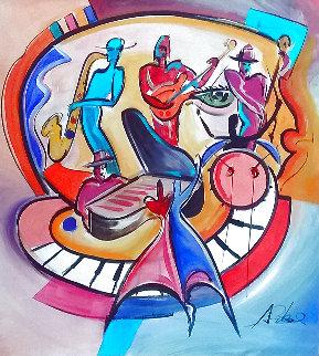 New Orleans Jam 2008 42x42 Huge Original Painting - Alfred Gockel