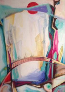 Meeting on the Bridge I 1992 33x25 Original Painting by Alfred Gockel