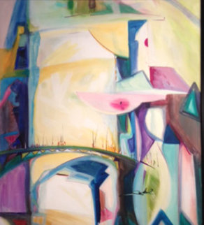 Meeting on the Bridge II 1992 28x26 Original Painting - Alfred Gockel