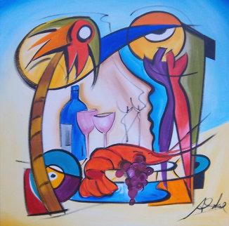 Dinner Is Served 2006 32x32 Original Painting by Alfred Gockel