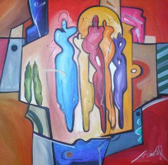 Mingle 1992 39x39 Original Painting - Alfred Gockel