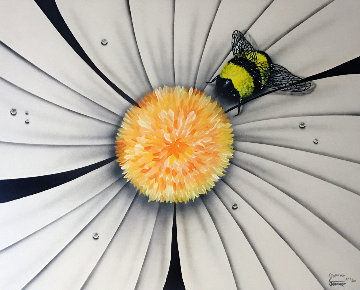 White Flower With Bumble Bee Limited Edition Print by Michael Godard
