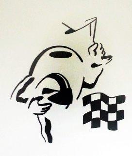Brush Stroke in Black Race Car Olive Watercolor 2010 20x23 Watercolor - Michael Godard