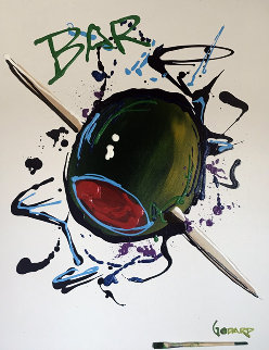 Olive With Toothpick (White)  2006 36x42 Super Huge Original Painting - Michael Godard