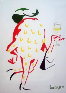 Brush Strokes in Color: Strawberry With Champagne 2010 33x37 Original Painting - Michael Godard