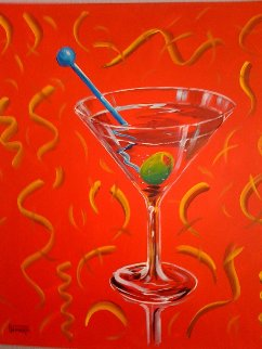 Red Martini 2002 24x24 Original Painting by Michael Godard