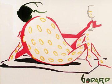 Strawberry With Champagne - Relaxing Unique  2012 21x24 Works on Paper (not prints) - Michael Godard