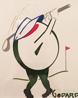 Olive Golfer With Visor And Cleats 2012 25x22 Works on Paper (not prints) by Michael Godard