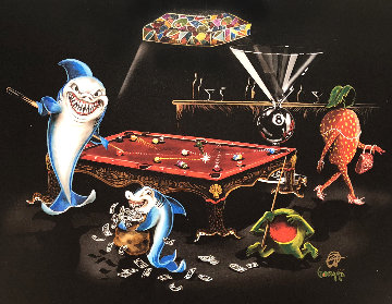 Pool Shark Bar Back Unique  2015 Embellished  Limited Edition Print - Michael Godard