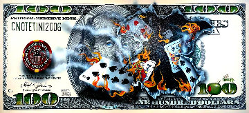 $100 Bill Full-House Player on Fire 2015 Embellished Huge Limited Edition Print - Michael Godard