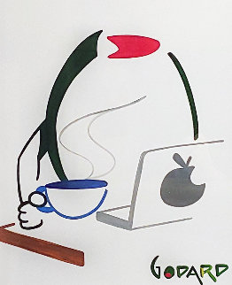 Olive At Computer With Coffee 2015 27x24 Works on Paper (not prints) - Michael Godard