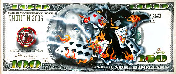 $100 Bill Full-House Player on Fire AP 2015 Embellished 22x52 Limited Edition Print - Michael Godard