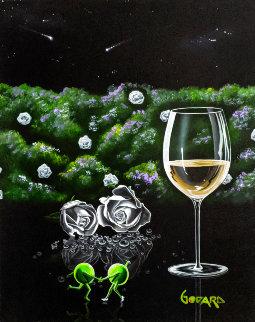 White Wine - Dancing With Roses 2015 34x30 Original Painting - Michael Godard