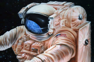 Astronaut Floating in Space 1999 48x60 Huge Original Painting - Michael Godard