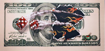 $100 Bill with Dice 2006 Embellished Super Huge Limited Edition Print - Michael Godard