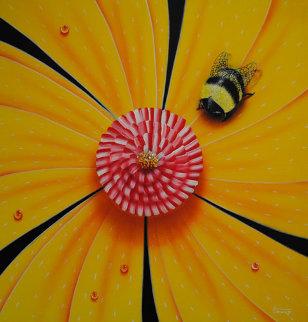 Flower and Bug Series, Set of 4 Artworks 2002 Original Painting by Michael Godard