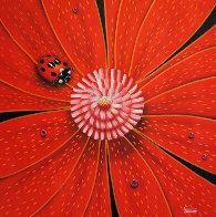 Flower and Bug Series, Set of 4 Artworks 2002 Original Painting by Michael Godard - 2