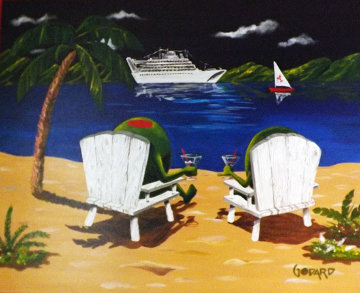 Cocktails on the Beach 2010 24x30 Original Painting - Michael Godard