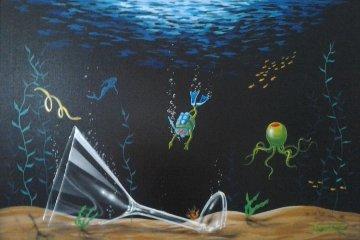 Martini Sea 2005 40x46  Original Painting by Michael Godard
