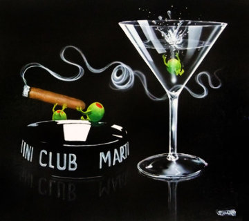 Club Martini 2004 - Series: Don't Drink And Draw 2004 30x36 Original Painting - Michael Godard