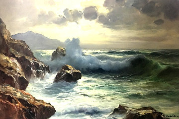 Crashing Waves 32x43 Original Painting - Guido Odierna