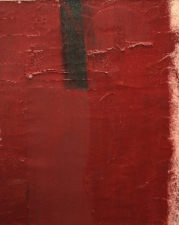 Red Abstract 1963 65x54 Original Painting - Michael Goldberg