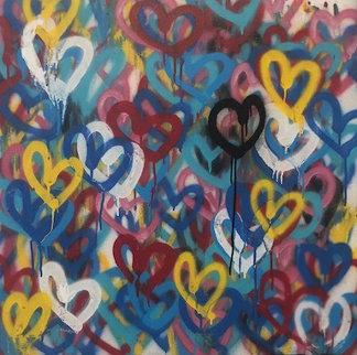 Bleeding Hearts 2014 30x30 Original Painting - James Goldcrown