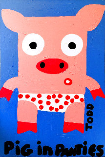 1145 Years Pig in Panties 2005 37x24 Original Painting - Todd Goldman