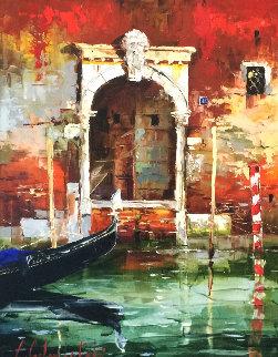 Venice Door 2006 36x29 Original Painting - Gleb Goloubetski