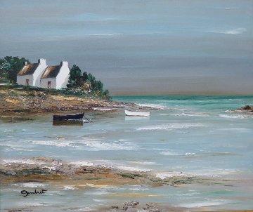 Ombres Sur Les Pignons Blancs 2000 25x28 Original Painting - Lucien Gondret