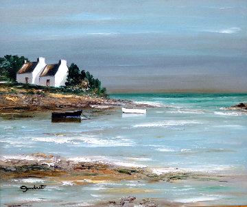 Ombres Sur Les Pignons Blancs 2000 25x29 Original Painting by Lucien Gondret