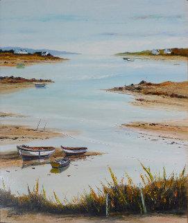 Barques Au Repos - Morbihan 2010 33x29 Original Painting - Lucien Gondret
