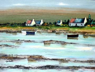 Cote Bretonne Dans Le Golfe De Morbihan 2000 18x24 Original Painting - Lucien Gondret