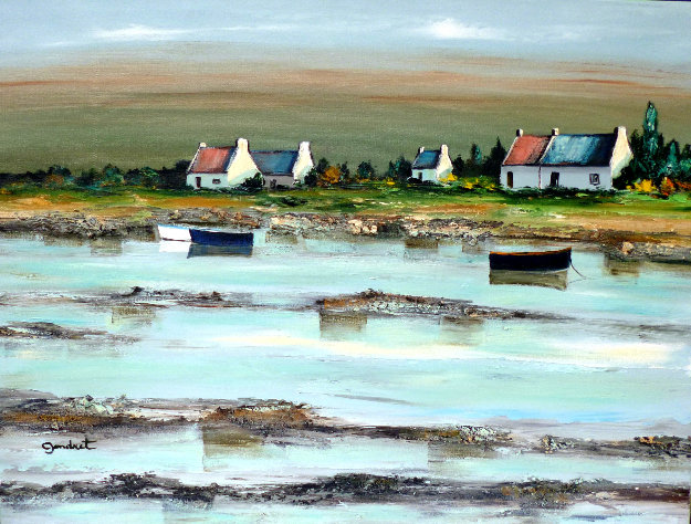 Cote Bretonne Dans Le Golfe De Morbihan 2000 18x24 Original Painting by Lucien Gondret