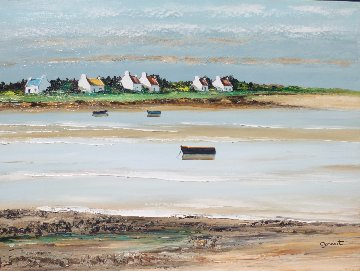 Ciel Moutonneux a Plouharnel 2000 18x24 Original Painting by Lucien Gondret