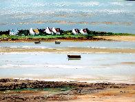 Ciel Moutonneux a Plouharnel 2000 18x24 Original Painting by Lucien Gondret - 0