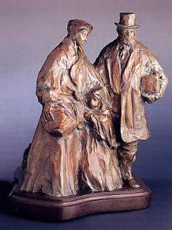 Departure From Dublin Bronze Sculpture 2004 19 in (Immigration) Sculpture - Glenna Goodacre