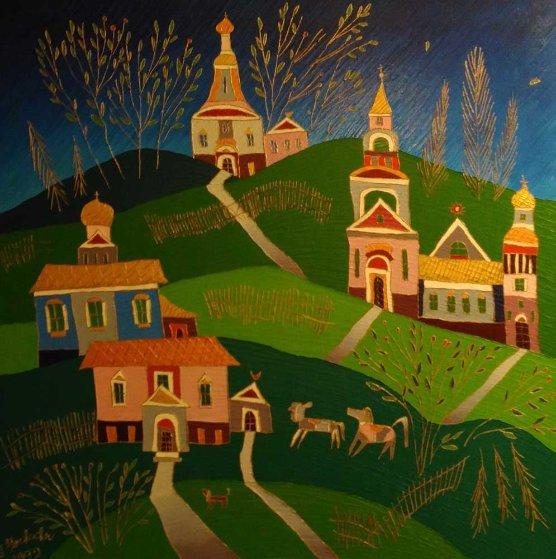Village in the Fall 1992 30x24 Original Painting by Yuri Gorbachev